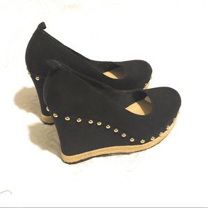 Aldo Black Wedge Shoes With Gold Stud Detail